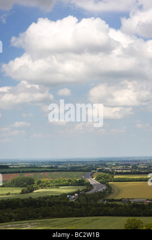 Looking over the M40 Motorway from the Chiltern Hills. The Chilterns, Buckinghamshire, England - Stock Photo