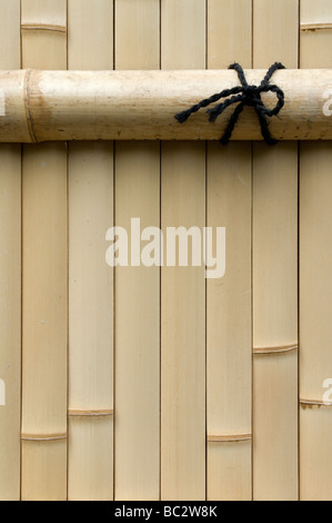 A simple artistic composition of a bamboo plank fence with strong vertical and horizontal lines and a black rope - Stock Photo