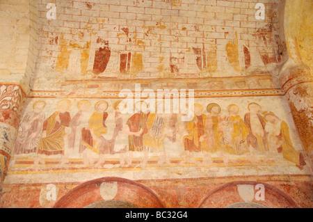 Medieval frescos in the church of Saint-Genest de Lavardin, Loir et Cher, Centre, France. - Stock Photo