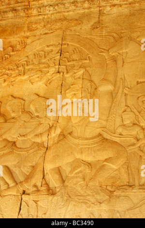 [Churning of the Ocean of Milk], bas relief depicting Hanuman and army of devas pulling on serpents tail, [Angkor - Stock Photo