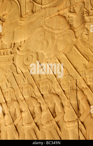 [Angkor Wat], [bas relief] depicting an elephant and army of devas, Cambodia - Stock Photo