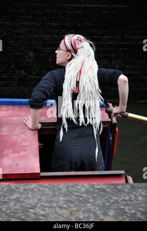 Barge piloting at Hampstead road Camden Lock on the Regents Canal London United Kingdom - Stock Photo
