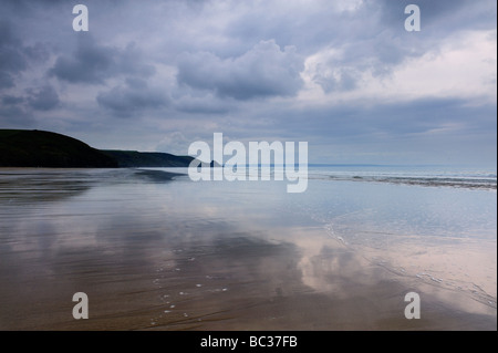 Newgale beach in Pembrokeshire, Wales, in a storm - Stock Photo