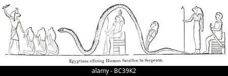 egyptians offering human sacrifice to serpents - Stock Photo