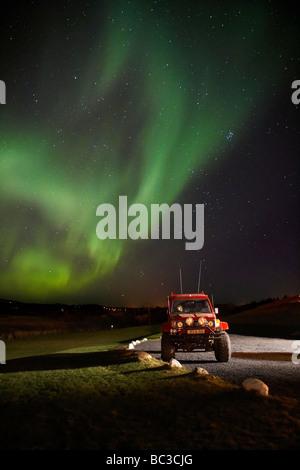 Aurora Borealis or Northern Lights, Heidmork, Reykjavik Iceland - Stock Photo
