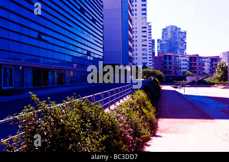 Contemporary buildings in the Diagonal Mar area of Barcelona. - Stock Photo