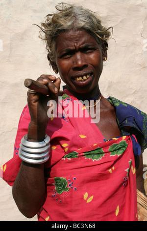 Elderly Lady Of The Indian Dhuruba Tribe, Orissa, India - Stock Photo