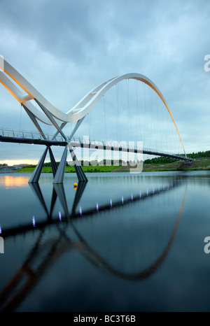 The Infinity Bridge is a public pedestrian and cycle footbridge across the River Tees in the borough of Stockton-on-Tees, UK Stock Photo