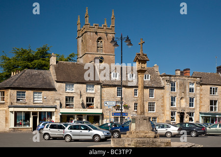 Market Place Stow on the Wold Cotswolds Hills Gloucestershire - Stock Photo