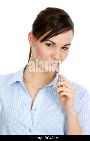 nachdenkliche Sekretärin thoughtful secretary - Stock Photo
