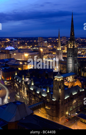 Coventry city centre and cathedral at night - Stock Photo