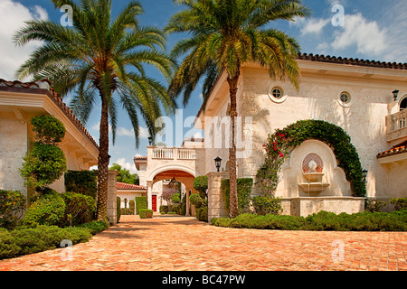 Driveway at a luxury residence in Boca Raton, Florida, USA - Stock Photo