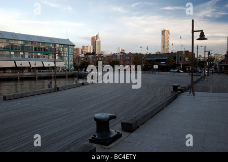 The Wharf in Woolloomooloo Bay with units or apartments in marina, Sydney, New South Wales NSW Australia - Stock Photo