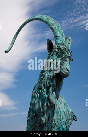 Goat Statue on The Great Orme ,Llandudno North Wales - Stock Photo