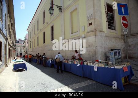 Book sale near largo do chiado and praça luis de camões Lisbon - Stock Photo