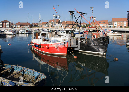Two fishing boats and a tender, Roker Marina, Sunderland, England, UK - Stock Photo
