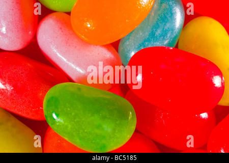 Multi colored jelly beans captured in 16 bit and provided in Adobe1998 color space to hold difficult color tones - Stock Photo
