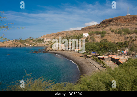 View over Ciudad Velha and the coast Cidade Velha Santiago Cabo Verde Africa - Stock Photo