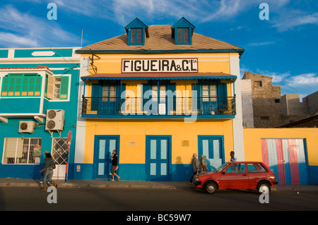 Colourful buildings in San Vincente Mindelo Cabo Verde Africa - Stock Photo