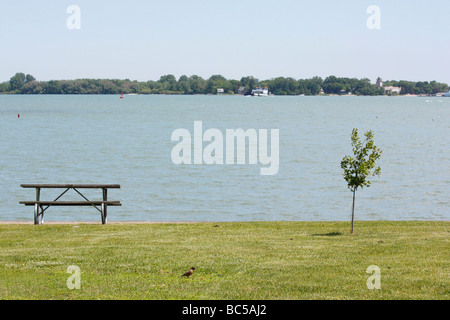 Empty single bench nobody no not people isolated from above Lake Erie Put in Bay Ohio USA Great Lakes - Stock Photo