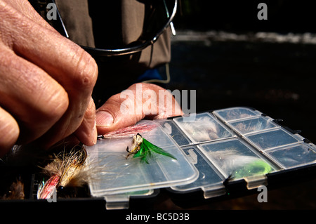 Fly fisherman choosing the next fly to use tying to catch a trout. - Stock Photo