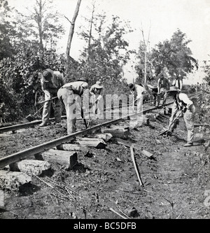 Contraband laborers repair stringer track near Murfreesboro after Civil War Battle of Stone's River in December - Stock Photo
