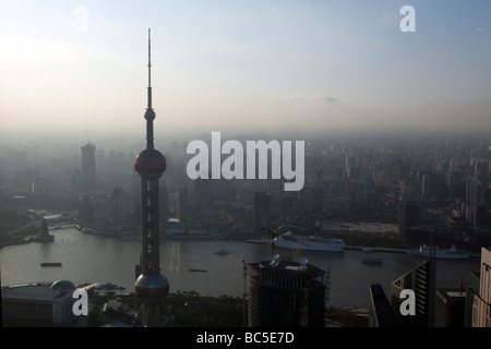 An view of Shanghai, China is seen at dusk - Stock Photo