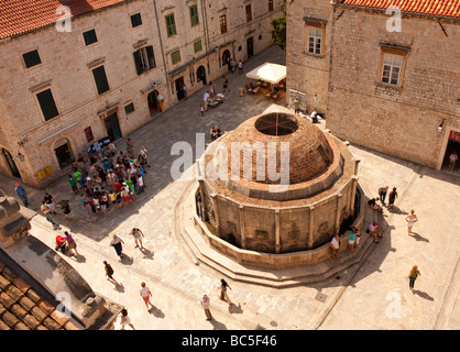 The Big Fountain of Onofrio, near the Pile Gate, Dubrovnik, Croatia, taken from the city wall. - Stock Photo