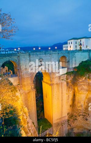 Ronda Bridge and El Tajo Gorge Malaga Andalucia Spain - Stock Photo