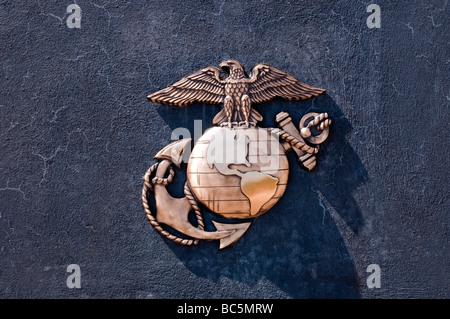 United States Marine Corps emblem on granite