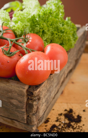 Fresh tomatoes and lettuce in wooden box - - Stock Photo
