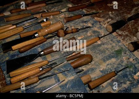 italy, trentino alto adige, south tyrol, dolomites, val gardena, ortisei, wood carving - Stock Photo
