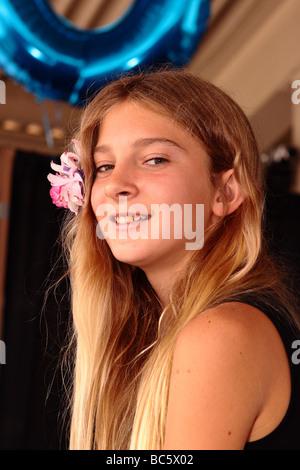 American Junior high school girl during her graduation in 2009 - Stock Photo