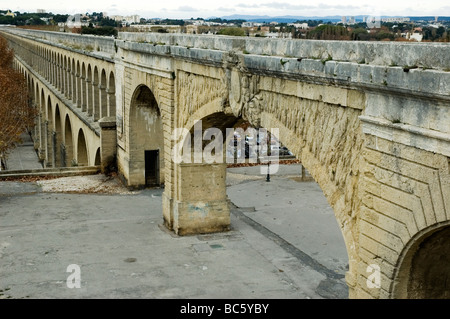 The Saint Clément Aqueduct, Montpellier in southern France - Stock Photo
