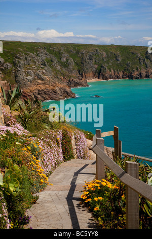 Steps & path to the beach at Porthcurno, Penzance, Cornwall, UK - Stock Photo