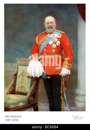 King Edward VII 1901 colour portrait photograph of the English monarch at the beginning of his reign - Stock Photo
