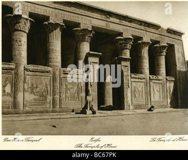 geography / travel, Egypt, Edfu, temple of Horus, interior view, court, 1930s, , Additional-Rights-Clearances-NA - Stock Photo