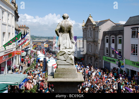 crowds of people on mazey day in market jew street,penzance,cornwall,uk - Stock Photo