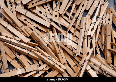 a closeup of a group of clothes pegs - Stock Photo