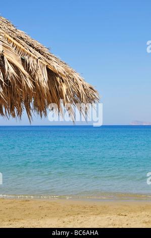 Sunshade at the beach of Sitia (Siteia), Crete, Greece - Stock Photo