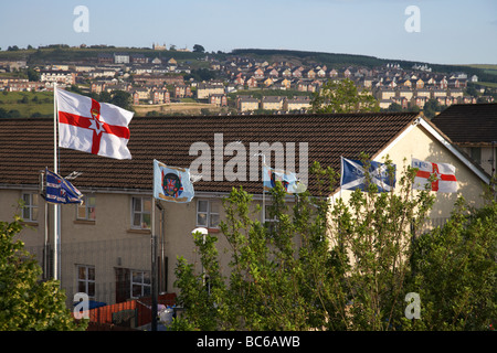 the fountain estate flying loyalist flags in derry city county derry northern ireland uk - Stock Photo