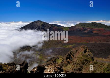 Volcanic craters at the Haleakala National Park, Maui, Hawaii, USA. - Stock Photo