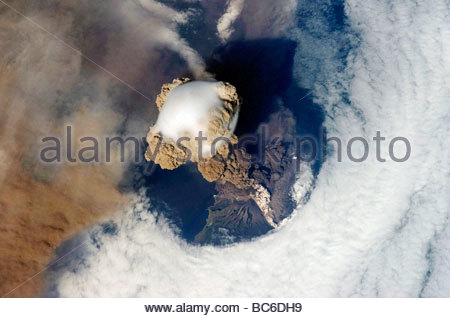 Sarychev Volcano from Space Nasa Space Station Photographed June 12th 2009 from the international space station - Stock Photo