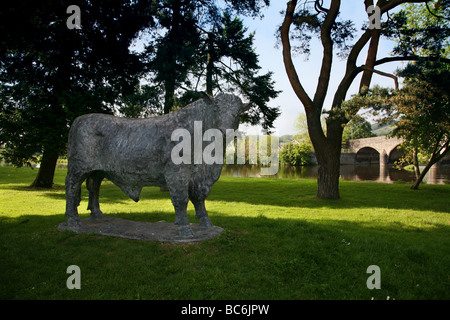 Statue of Caerynwch Tynysog the 6th, champion Welsh Black Bull stands near the arched bridge over the River Wye - Stock Photo