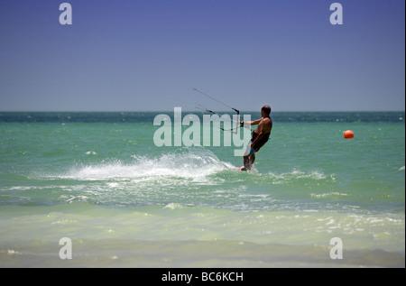 Kite surfing on Holbox island, Quintana Roo, Yucatán Peninsula, Mexico, a unique Mexican destination in the Yucatan - Stock Photo
