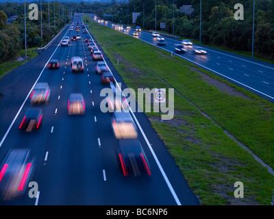 Night traffic M1 freeway Brisbane Australia - Stock Photo