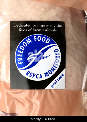 Freedom Food Label on a Chicken RSPCA Monitored - Stock Photo