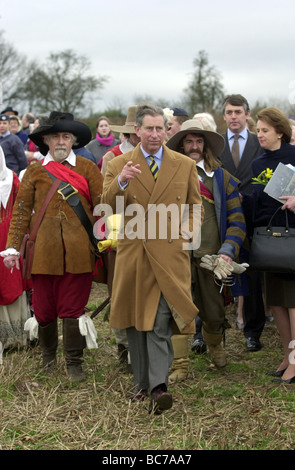 Prince Charles and his Cavaliers at Boscobel House on Shropshire and Staffordshire border 2001 - Stock Photo