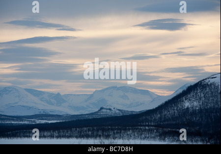 Fells in the Swedish side (North end) of the Lake Kilpisjärvi, Malla National Park, Finland - Stock Photo