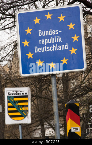 The border of the Federal Republic of Germany at Goerlitz, Germany. - Stock Photo